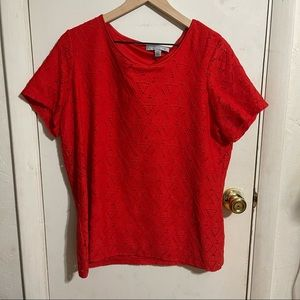 Andrew marc red triangle printed blouse sz Xl